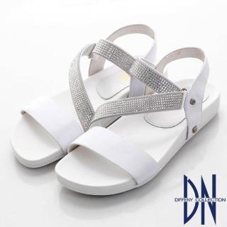 【DN】時尚耀眼 水鑽交叉曲線涼鞋(白)