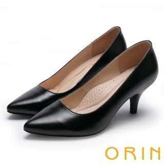 【ORIN】時尚OL 簡約剪裁羊皮素面高跟鞋(黑色)