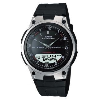 【CASIO】商務型男雙顯指針錶-銀框黑面(AW-80-1A)
