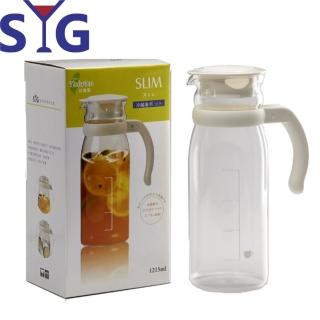 【SYG】精緻玻璃耐熱涼水壺-刻度(白蓋-1215cc)
