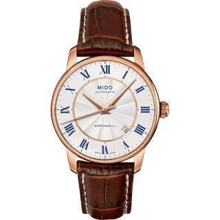 【MIDO】Baroncelli II 羅馬假期機械腕錶-銀x玫塊金框/38mm(M86002218)