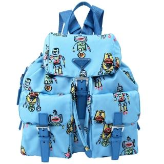 【PRADA】機器人印花雙口袋翻蓋後背包(水藍)