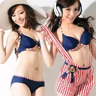 【Lady c.c.】條紋軍風吊帶褲三件套泳裝(紅)