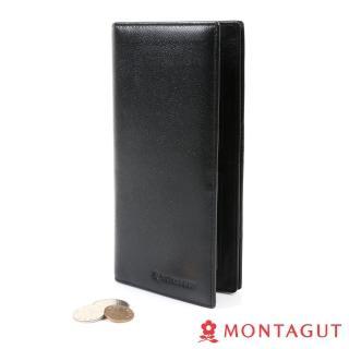 【MONTAGUT夢特嬌】細皮紋頭層牛皮真皮 長夾 黑(8卡2照3夾1零)