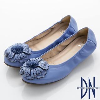 【DN】典雅品味 春漾花朵舒適柔軟平底鞋(藍)