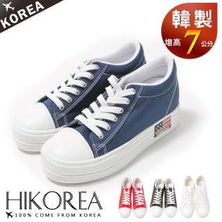 【HIKOREA韓美鞋】正韓空運。增高7cm經典帆布美國國旗休閒厚底增高鞋(7-2700/現貨)