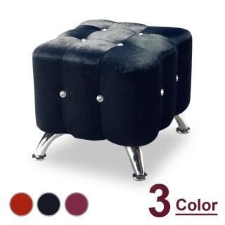 【時尚屋】水鑽絨布小椅 NM7-295-10(三色可選 免組裝 免運費 椅凳)