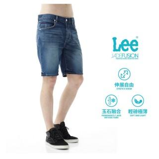 【Lee】Jade Fusion 牛仔刷白短褲/UR-男款-深藍(牛仔、短褲)