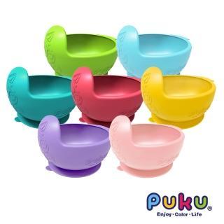 【PUKU藍色企鵝】矽膠防漏魔吸碗(萊姆綠/寶石紅/海水藍)