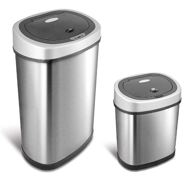 【美國NINESTARS】時尚不銹鋼感應式垃圾桶50L+12L(買大送小廚衛優惠組
