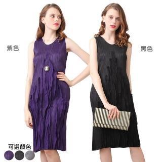 【糖潮】時尚皺摺圓領無袖壓摺洋裝(共三色)