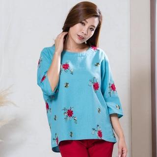 L'LAR重磅棉麻絢麗豐盈刺繡上衣組(X)