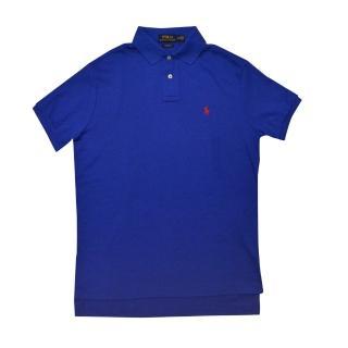 【US POLO】小馬球經典戰馬短袖POLO衫-寶藍/紅(美國時尚品牌服飾)