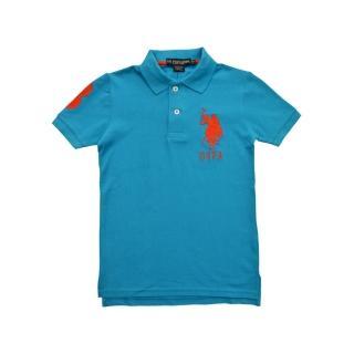 【US POLO】經典戰馬短袖POLO衫-天藍/橘(美國時尚品牌服飾)