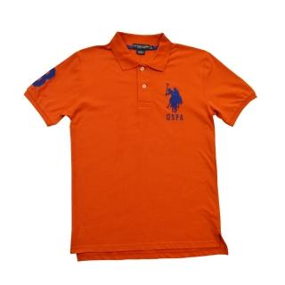 【US POLO】經典戰馬短袖POLO衫-橘(美國時尚品牌服飾)