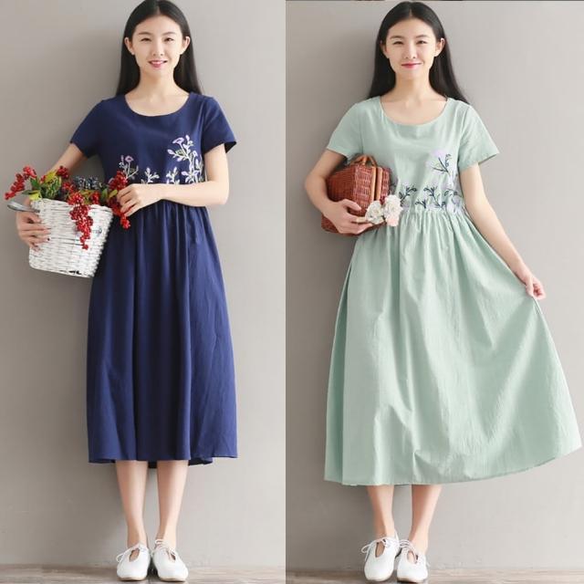 【A.Cheter】小清新花草刺繡抽繩短袖洋裝100340(3色)