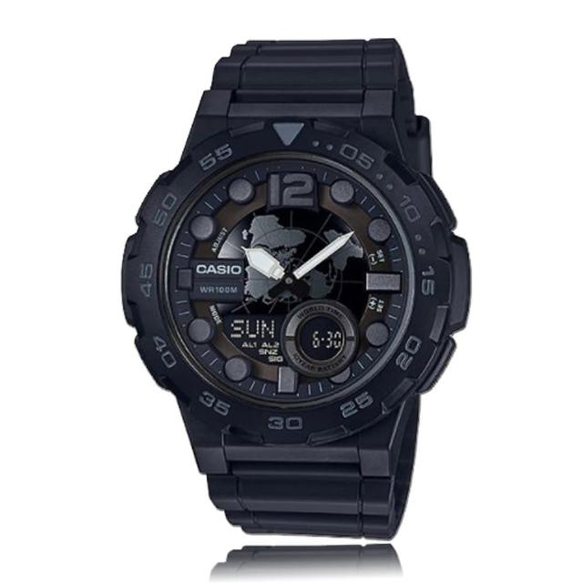 【CASIO 卡西歐】指針雙顯錶 樹脂錶帶 碼錶 倒數計時 防水(AEQ-100W)