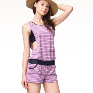 【沙兒斯】粉紫橫紋兩件式女泳裝(B92728)