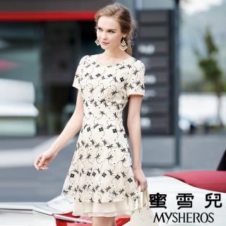 【蜜雪兒mysheros】甜美氛圍蕾絲繡花洋裝(金)