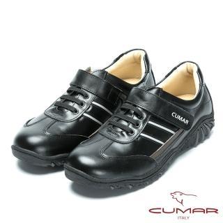 【CUMAR】MIT台灣製造 全真皮舒適魔術貼休閒鞋(黑色)