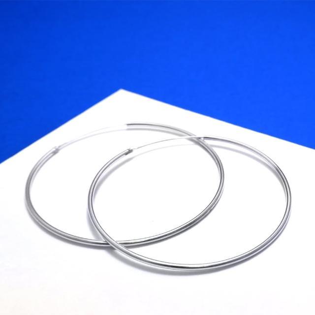 【ART64】圈式 C型耳環 圓形 55mm 925純銀耳環-