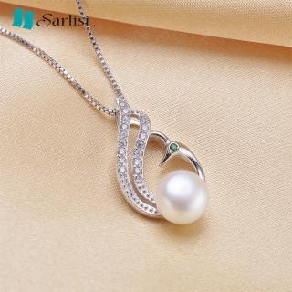 【Sarlisi】時尚孔雀款純銀晶鑽珍珠項鍊(白色、粉色、紫色)