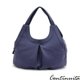 【Continuita 康緹尼】頭層牛皮米蘭夏洛特弧形肩包(藍色)