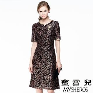 【蜜雪兒mysheros】金蔥蕾絲花朵宴會洋裝(金)