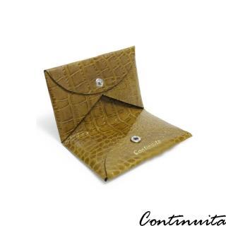 【Continuita 康緹尼】頭層牛皮美國鱷魚紋摺疊式收納名片夾(棕色)