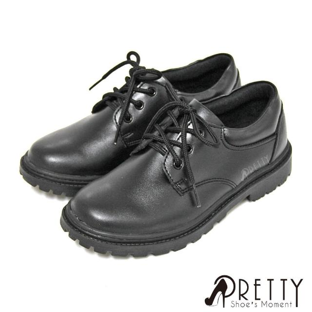 【Pretty】基本綁帶女款學生皮鞋(黑色)
