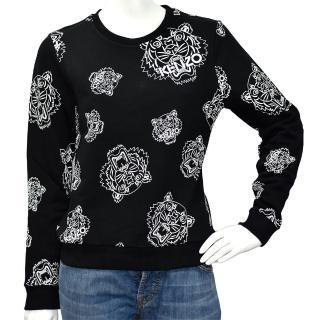 【KENZO】品牌老虎印花厚版純棉長袖圓領衫(黑4XH-2SW719-BLACK)