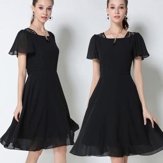 【麗質達人中大碼】2755蕾絲拼接雪紡洋裝(M-5XL)
