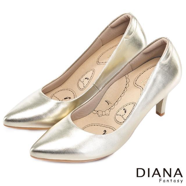 【DIANA】漫步雲端布朗尼H款--輕彈舒適OL制鞋(金)