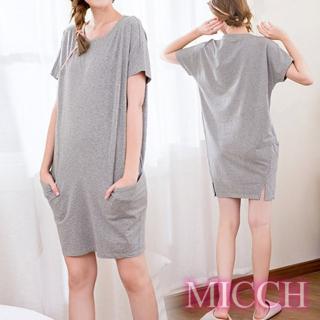 【MICCH】Basic動靜之間 素雅棉質小開岔短袖休閒連身裙*灰