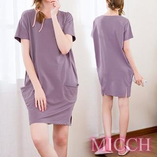 【MICCH】Basic動靜之間 素雅棉質小開岔短袖休閒連身裙*紫