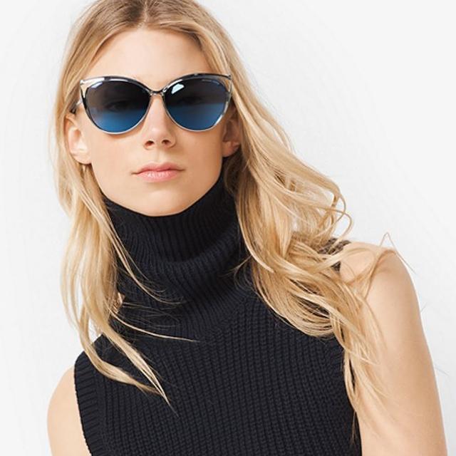 【MICHAEL KORS太陽眼鏡】歐美時尚貓眼(銀-藍水銀#MK1020 116755)
