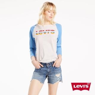【Levis】圓領七分袖上衣 女裝 / 彩虹LOGO