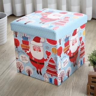 【EASY HOME】繽紛耐重摺疊收納椅凳(歡樂聖誕)
