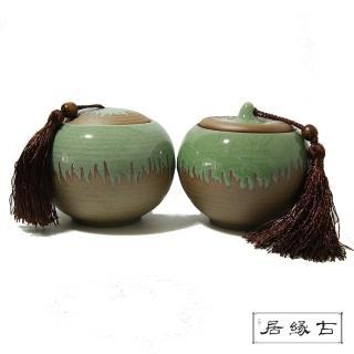 【古緣居_12H】成對粗陶哥窯福圓茶罐