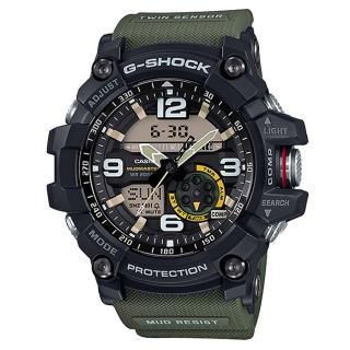 【CASIO】G-SHOCK 極限陸上冒險家軍事造型雙顯錶-綠(GG-1000-1A3)