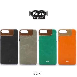 【Mokka】Iphone7 4.7復古油蠟撞色拼接保護殼(手工背蓋 皮背蓋)