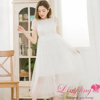 【lingling】任選睫毛網紗蕾絲拼接紗長版洋裝PA3386(共二色)