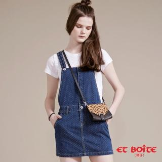 【BLUE WAY】可愛風點點吊帶牛仔短裙- ET BOiTE 箱子