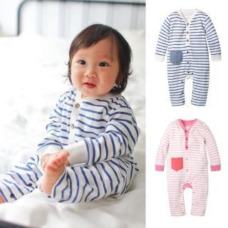 【baby童衣】簡約條紋前開扣長袖連身衣 70031(共2色)