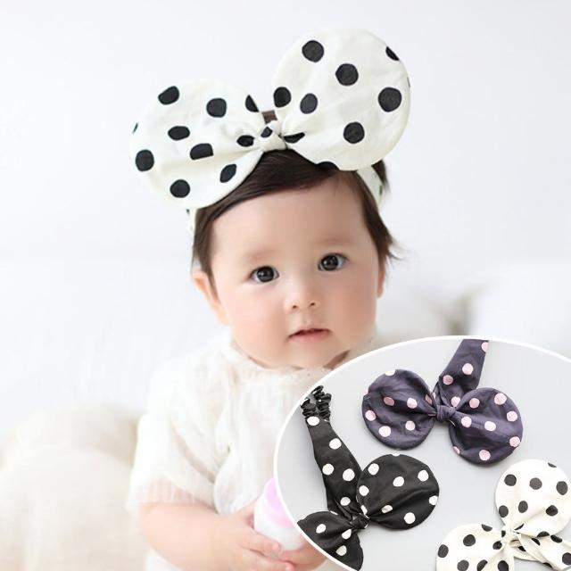 【UNICO】兒童點點軟鋼絲可塑性大耳朵造型髮帶