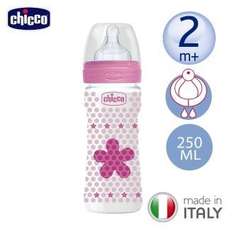 【chicco】舒適哺乳-甜美女孩矽膠PP大奶瓶250ML-單孔2m+