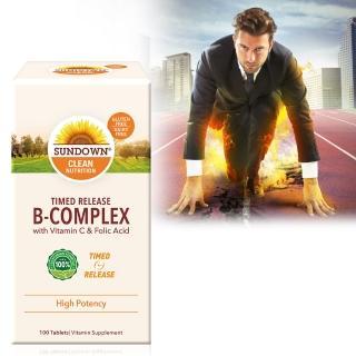 【Sundown 日落恩賜】緩釋型超級B群+C錠-B12加強配方(100錠/瓶)