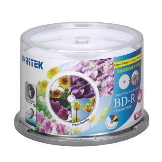 【錸德 Ritek】藍光 BD-R 25GB 6X 頂級鏡面相片防水可列印式光碟(5760dpi/防水抗溼 X 50P布丁桶)