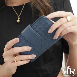 【2R】葛瑞絲Grace梭織羊皮三折壓釦中夾 寶石藍