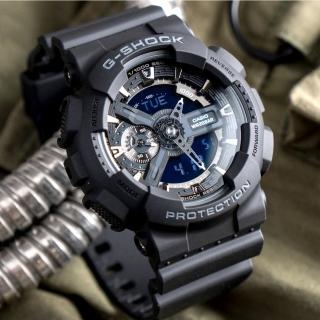 【CASIO 卡西歐】G-SHOCK 暗黑重機裝置指針雙顯概念錶-黑/55mm(GA-110-1BDR)